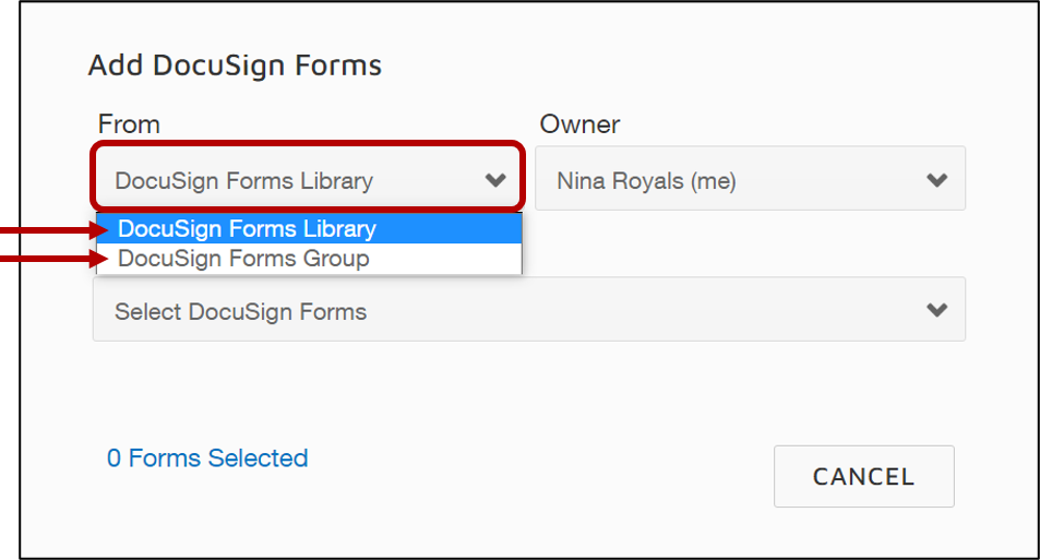 docusign_choose_libary_or_group.png